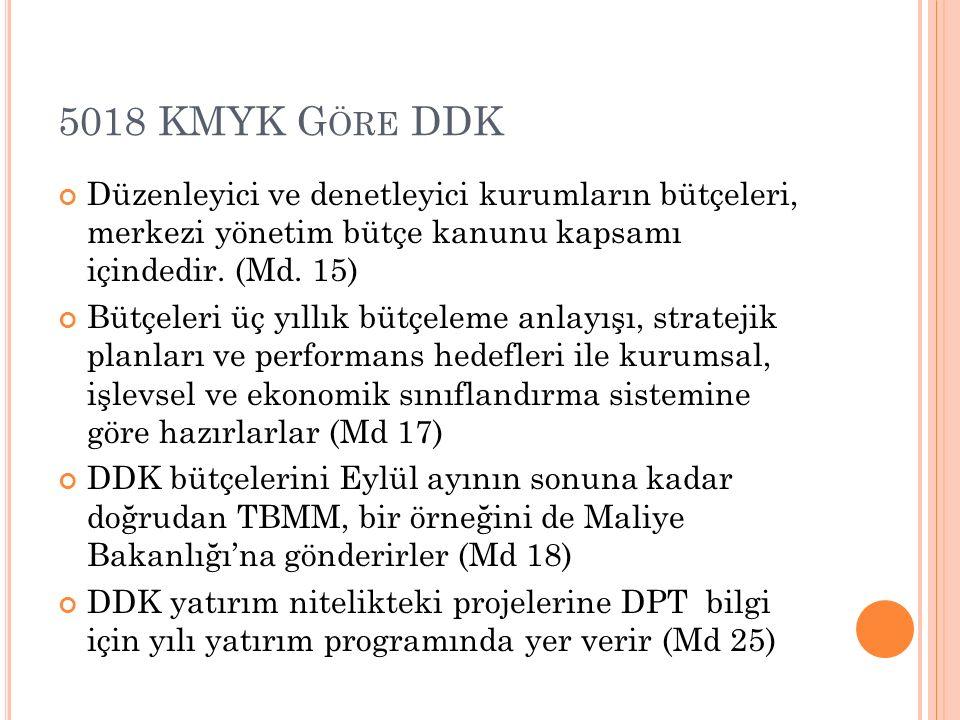 5018 KMYK G ÖRE DDK Düzenleyici ve denetleyici kurumların bütçeleri, merkezi yönetim bütçe kanunu kapsamı içindedir. (Md. 15) Bütçeleri üç yıllık bütç