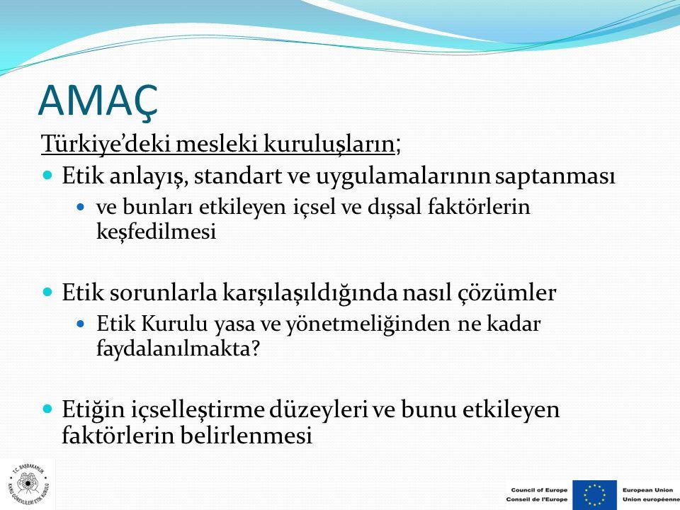 AMAÇ Türkiye'deki mesleki kuruluşların ; Etik anlayış, standart ve uygulamalarının saptanması ve bunları etkileyen içsel ve dışsal faktörlerin keşfedi