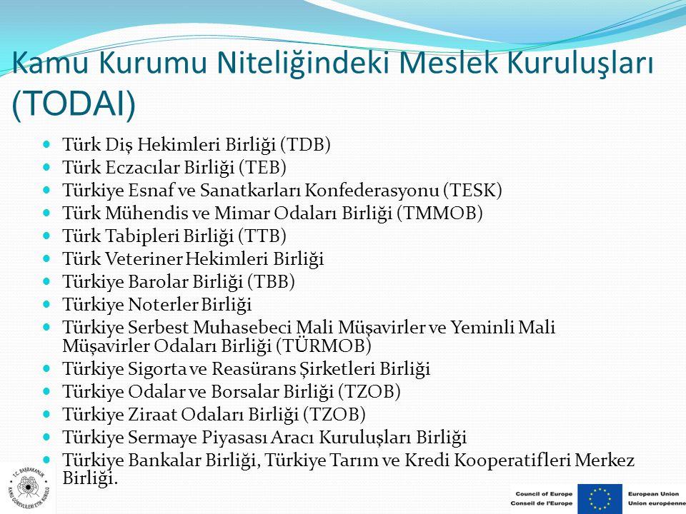 Kamu Kurumu Niteliğindeki Meslek Kuruluşları (TODAI) Türk Diş Hekimleri Birliği (TDB) Türk Eczacılar Birliği (TEB) Türkiye Esnaf ve Sanatkarları Konfe