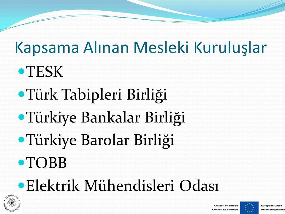 Kapsama Alınan Mesleki Kuruluşlar TESK Türk Tabipleri Birliği Türkiye Bankalar Birliği Türkiye Barolar Birliği TOBB Elektrik Mühendisleri Odası