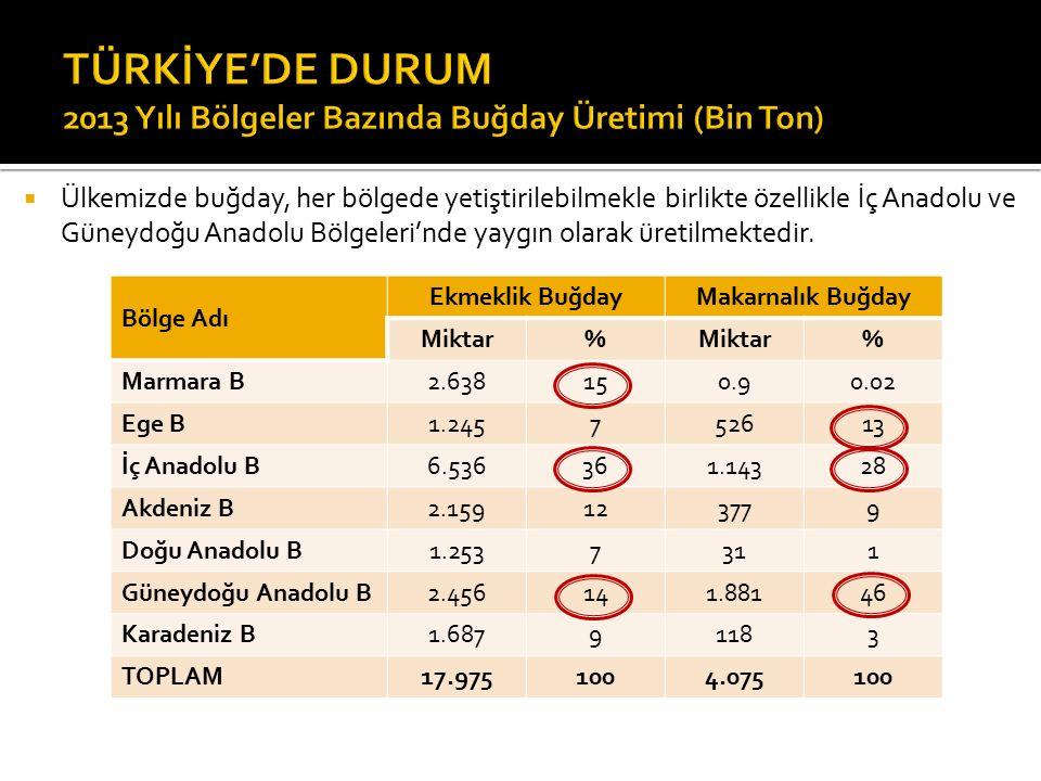  Ülkemizde buğday, her bölgede yetiştirilebilmekle birlikte özellikle İç Anadolu ve Güneydoğu Anadolu Bölgeleri'nde yaygın olarak üretilmektedir.