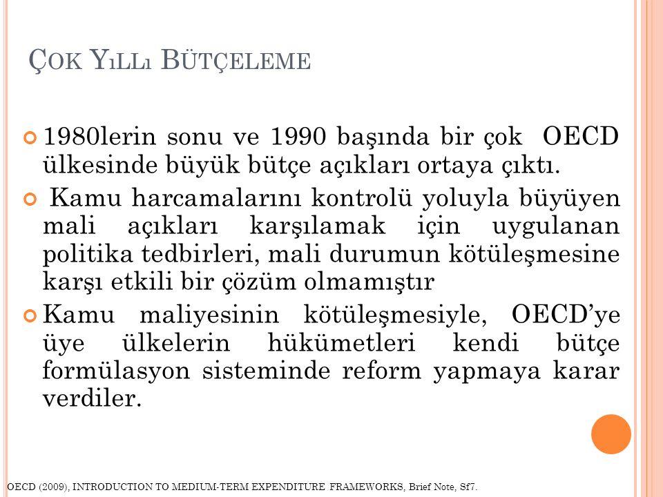 Ç OK Y ıLLı B ÜTÇELEME 1980lerin sonu ve 1990 başında bir çok OECD ülkesinde büyük bütçe açıkları ortaya çıktı.