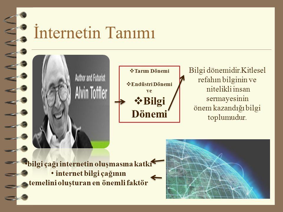 İnternetin Tanımı Dünyanın dört bir yanındaki veri tabanlarını ve bilgisayarları birbirine bağlayan bilgisayar ağı'', İnternet kavram olarak insanların birbirleriyle interaktif ortamda haberleşmesi ve bu haberleşmeyi yaparken de ortak bir iletişim dili (protokol) kullanan ağ, Dünya üzerindeki binlerce bilgisayara ağını birbirine bağlayan, dev bir bilgisayar ağ,