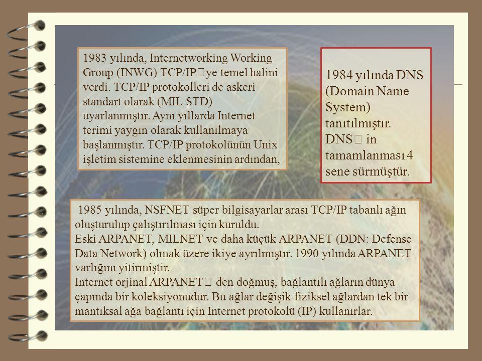 4.4.1984 yılında DNS (Domain Name System) tanıtılmıştır.