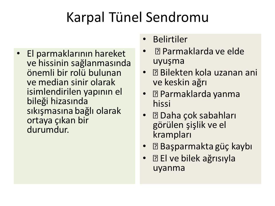 Karpal Tünel Sendromu El parmaklarının hareket ve hissinin sağlanmasında önemli bir rolü bulunan ve median sinir olarak isimlendirilen yapının el bileği hizasında sıkışmasına bağlı olarak ortaya çıkan bir durumdur.