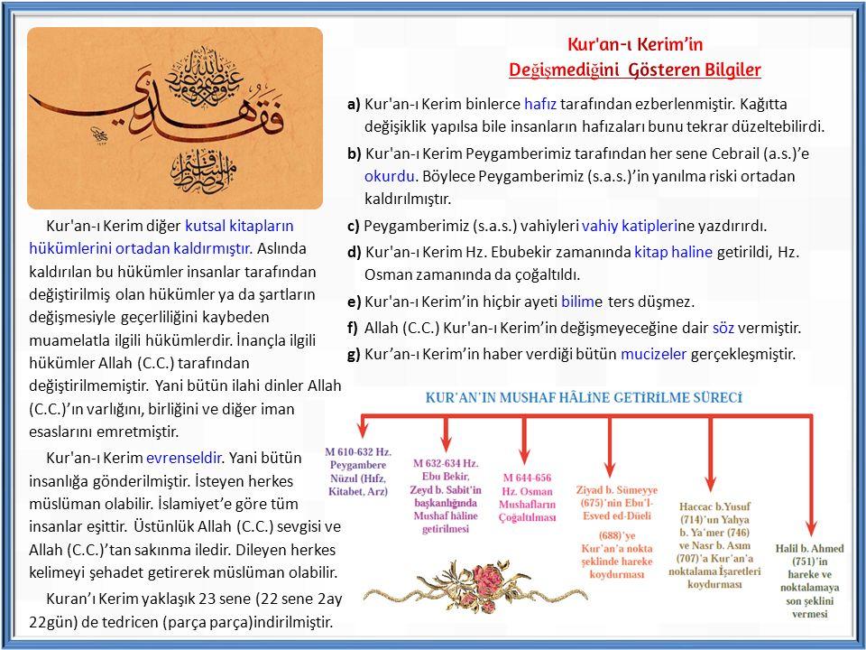 Kur'an-ı Kerim diğer kutsal kitapların hükümlerini ortadan kaldırmıştır. Aslında kaldırılan bu hükümler insanlar tarafından değiştirilmiş olan hükümle