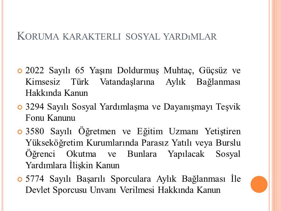K ORUMA KARAKTERLI SOSYAL YARDıMLAR 2022 Sayılı 65 Yaşını Doldurmuş Muhtaç, Güçsüz ve Kimsesiz Türk Vatandaşlarına Aylık Bağlanması Hakkında Kanun 3294 Sayılı Sosyal Yardımlaşma ve Dayanışmayı Teşvik Fonu Kanunu 3580 Sayılı Öğretmen ve Eğitim Uzmanı Yetiştiren Yükseköğretim Kurumlarında Parasız Yatılı veya Burslu Öğrenci Okutma ve Bunlara Yapılacak Sosyal Yardımlara İlişkin Kanun 5774 Sayılı Başarılı Sporculara Aylık Bağlanması İle Devlet Sporcusu Unvanı Verilmesi Hakkında Kanun