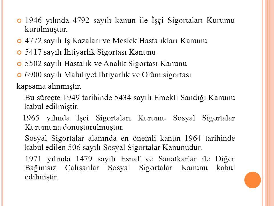 1946 yılında 4792 sayılı kanun ile İşçi Sigortaları Kurumu kurulmuştur. 4772 sayılı İş Kazaları ve Meslek Hastalıkları Kanunu 5417 sayılı İhtiyarlık S