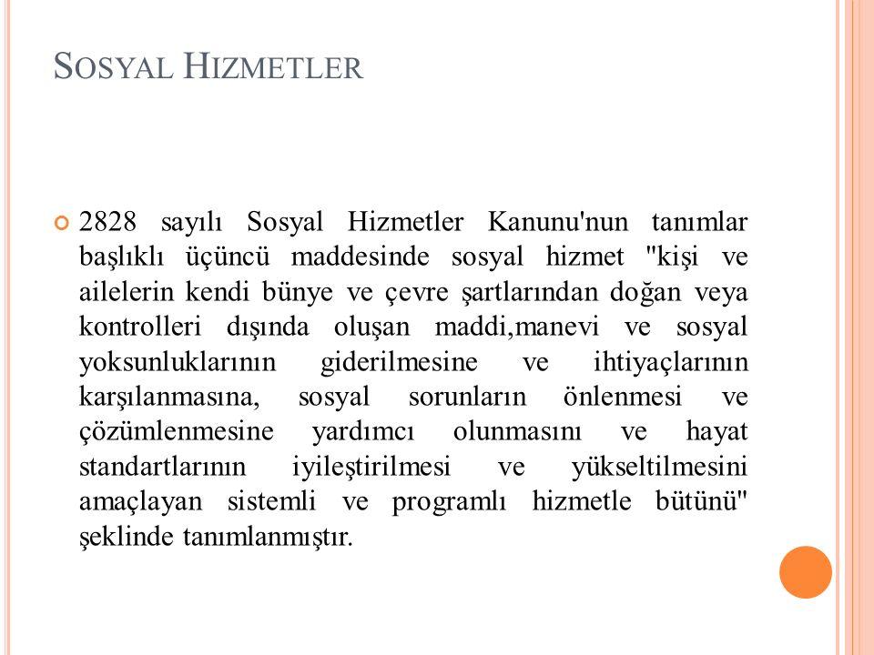 S OSYAL H IZMETLER 2828 sayılı Sosyal Hizmetler Kanunu'nun tanımlar başlıklı üçüncü maddesinde sosyal hizmet