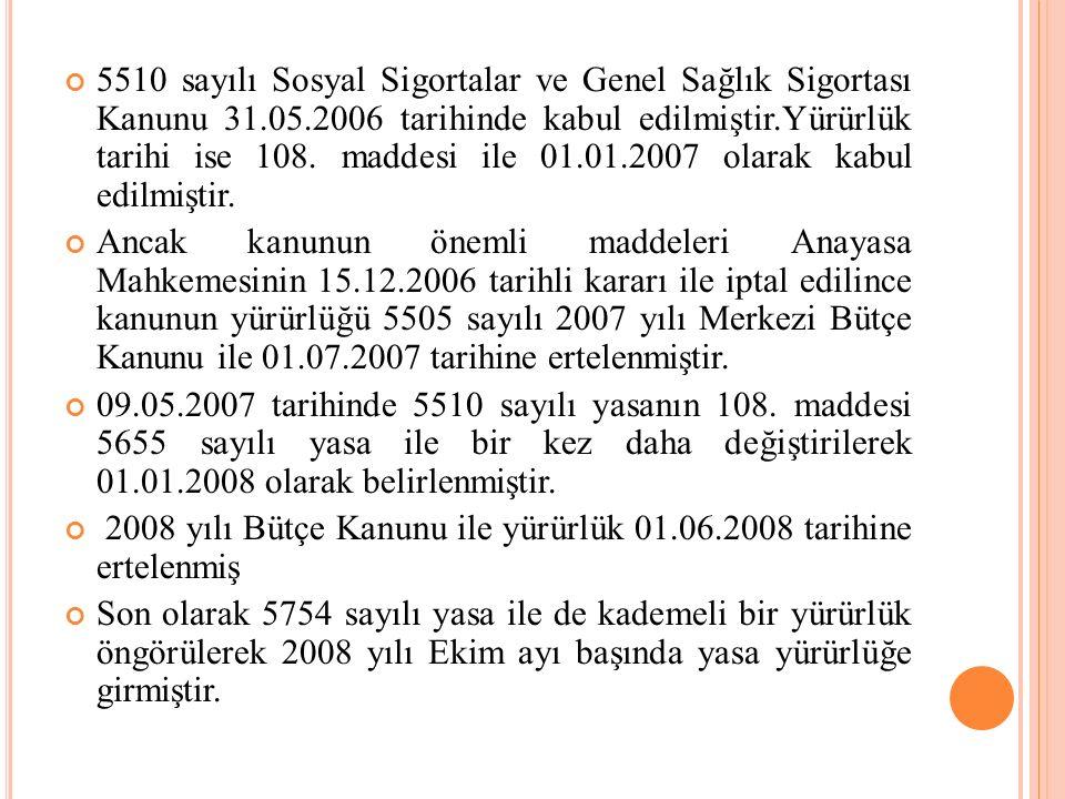 5510 sayılı Sosyal Sigortalar ve Genel Sağlık Sigortası Kanunu 31.05.2006 tarihinde kabul edilmiştir.Yürürlük tarihi ise 108. maddesi ile 01.01.2007 o