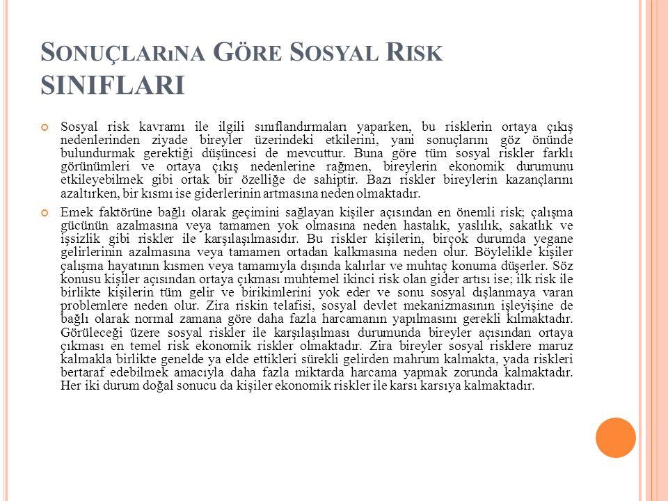 S ONUÇLARıNA G ÖRE S OSYAL R ISK SINIFLARI Sosyal risk kavramı ile ilgili sınıflandırmaları yaparken, bu risklerin ortaya çıkış nedenlerinden ziyade b