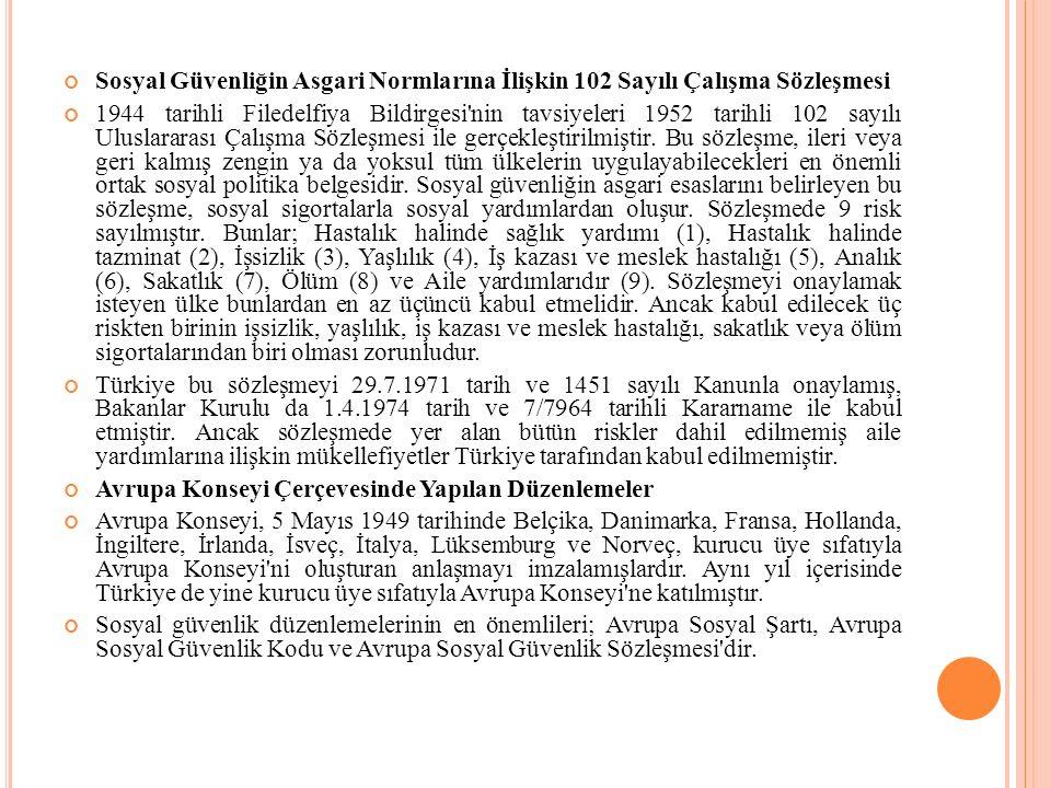 Sosyal Güvenliğin Asgari Normlarına İlişkin 102 Sayılı Çalışma Sözleşmesi 1944 tarihli Filedelfiya Bildirgesi nin tavsiyeleri 1952 tarihli 102 sayılı Uluslararası Çalışma Sözleşmesi ile gerçekleştirilmiştir.