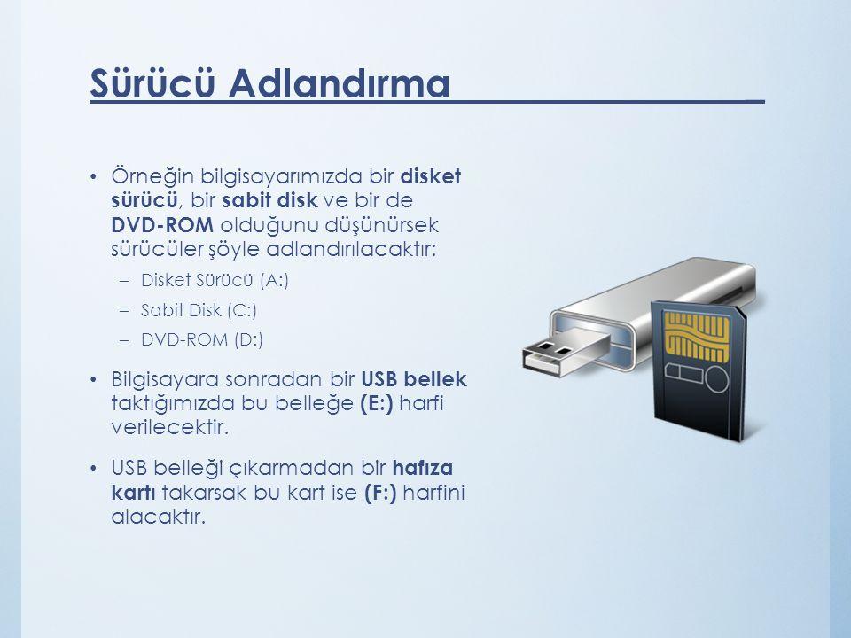 Örneğin bilgisayarımızda bir disket sürücü, bir sabit disk ve bir de DVD-ROM olduğunu düşünürsek sürücüler şöyle adlandırılacaktır: –Disket Sürücü (A:) –Sabit Disk (C:) –DVD-ROM (D:) Bilgisayara sonradan bir USB bellek taktığımızda bu belleğe (E:) harfi verilecektir.