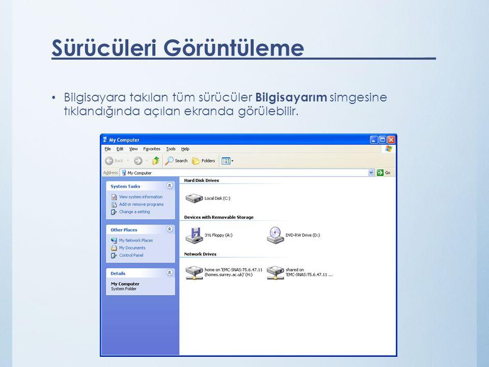 Bilgisayara takılan tüm sürücüler Bilgisayarım simgesine tıklandığında açılan ekranda görülebilir. Sürücüleri Görüntüleme _