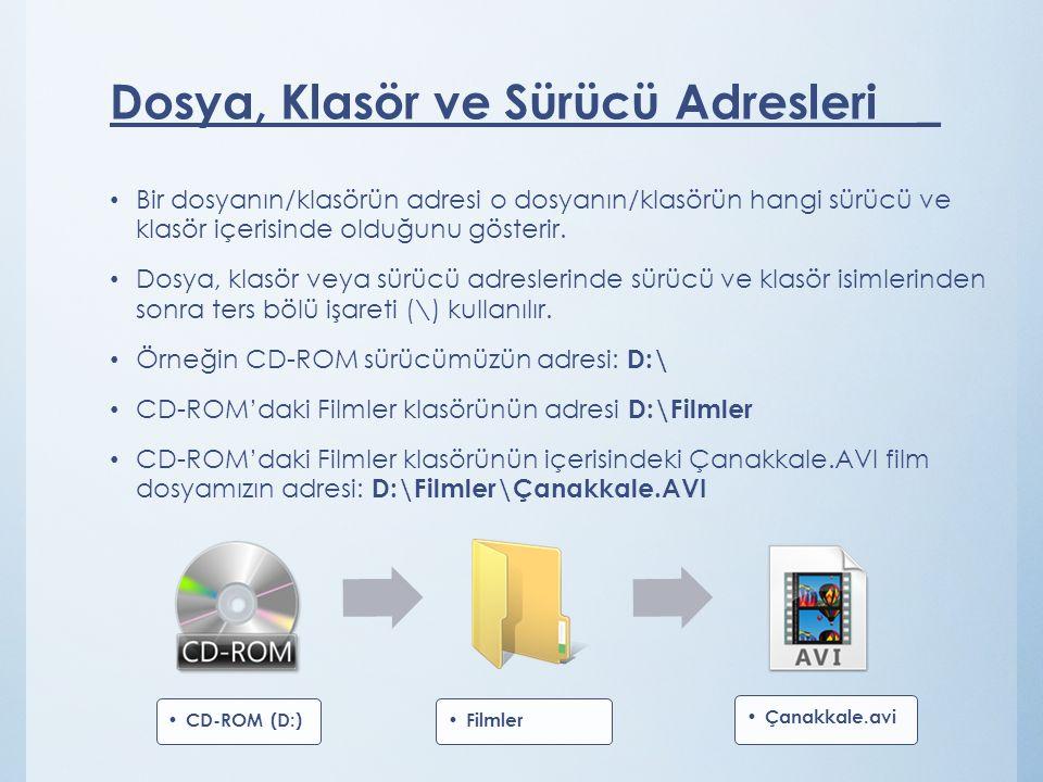 Bir dosyanın/klasörün adresi o dosyanın/klasörün hangi sürücü ve klasör içerisinde olduğunu gösterir. Dosya, klasör veya sürücü adreslerinde sürücü ve