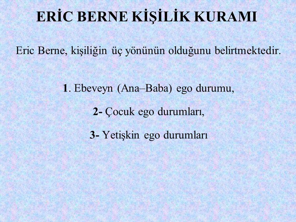 ERİC BERNE KİŞİLİK KURAMI Eric Berne, kişiliğin üç yönünün olduğunu belirtmektedir. 1. Ebeveyn (Ana–Baba) ego durumu, 2- Çocuk ego durumları, 3- Yetiş