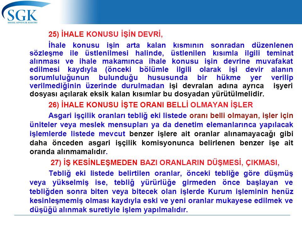 25) İHALE KONUSU İŞİN DEVRİ, İhale konusu işin arta kalan kısmının sonradan düzenlenen sözleşme ile üstlenilmesi halinde, üstlenilen kısımla ilgili te