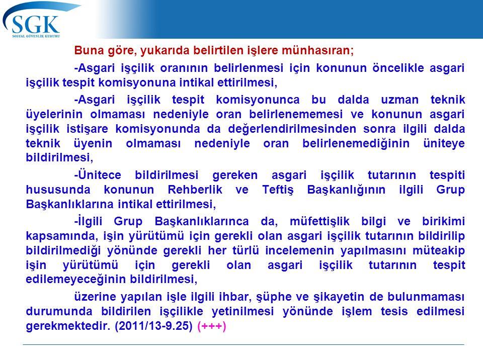 Buna göre, yukarıda belirtilen işlere münhasıran; -Asgari işçilik oranının belirlenmesi için konunun öncelikle asgari işçilik tespit komisyonuna intik