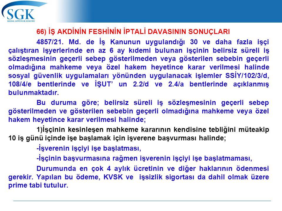 66) İŞ AKDİNİN FESHİNİN İPTALİ DAVASININ SONUÇLARI 4857/21.