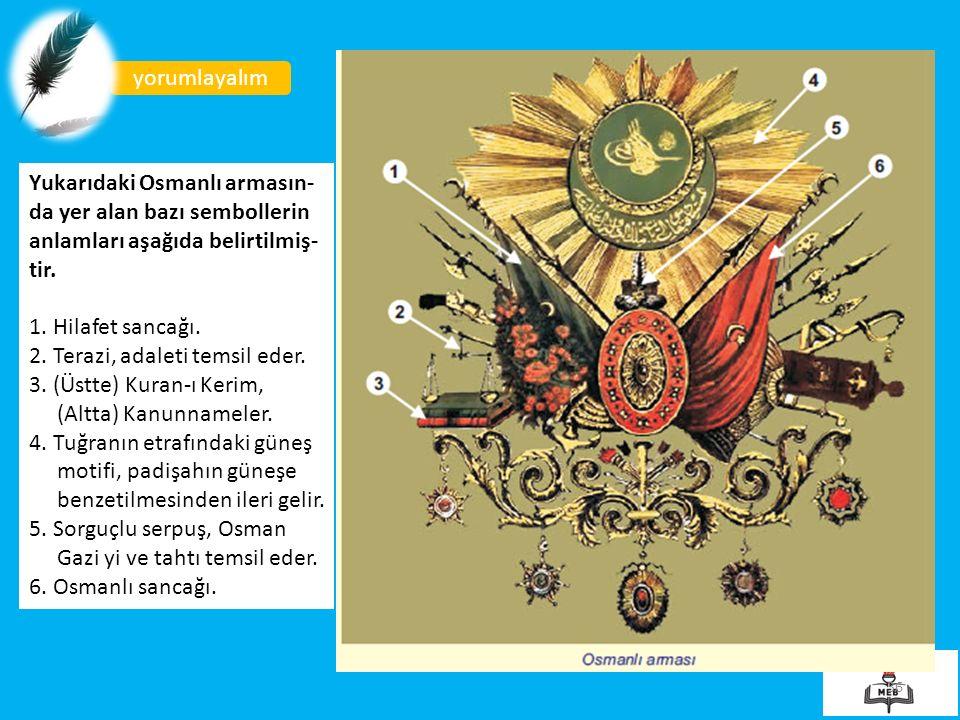 36 yorumlayalım Yukarıdaki Osmanlı armasın- da yer alan bazı sembollerin anlamları aşağıda belirtilmiş- tir.