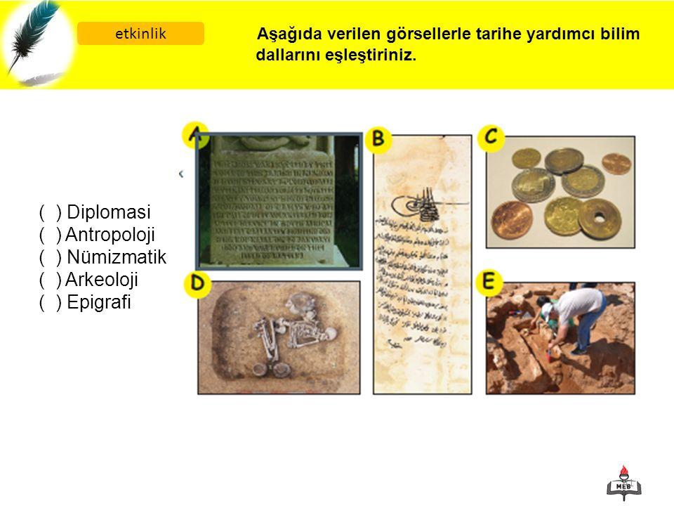 Aşağıda verilen görsellerle tarihe yardımcı bilim dallarını eşleştiriniz.
