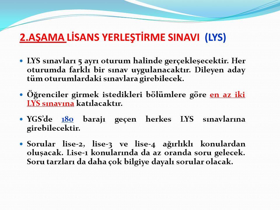 2.AŞAMA LİSANS YERLEŞTİRME SINAVI (LYS) LYS sınavları 5 ayrı oturum halinde gerçekleşecektir.