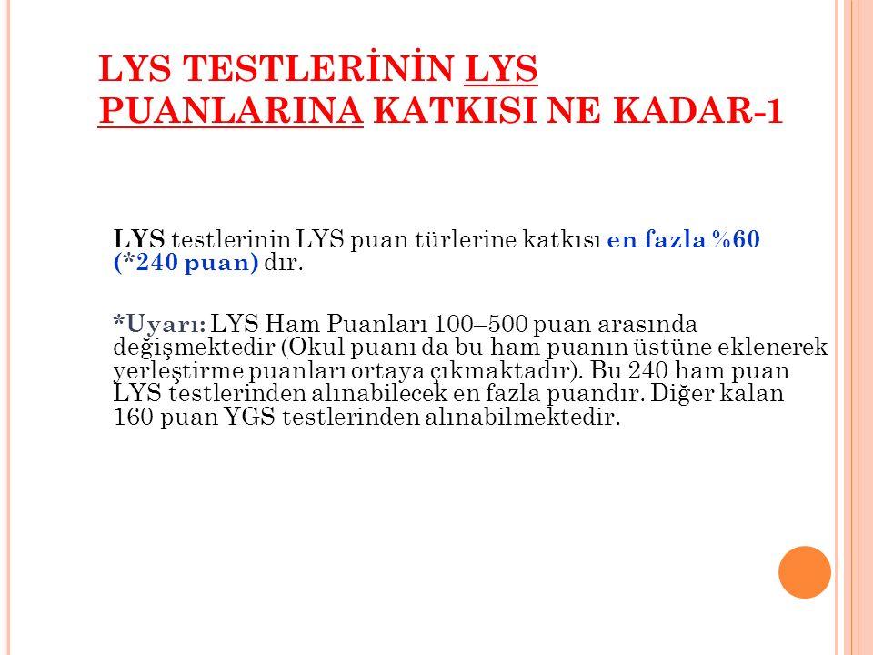 LYS TESTLERİNİN LYS PUANLARINA KATKISI NE KADAR-1 LYS testlerinin LYS puan türlerine katkısı en fazla %60 (*240 puan) dır.
