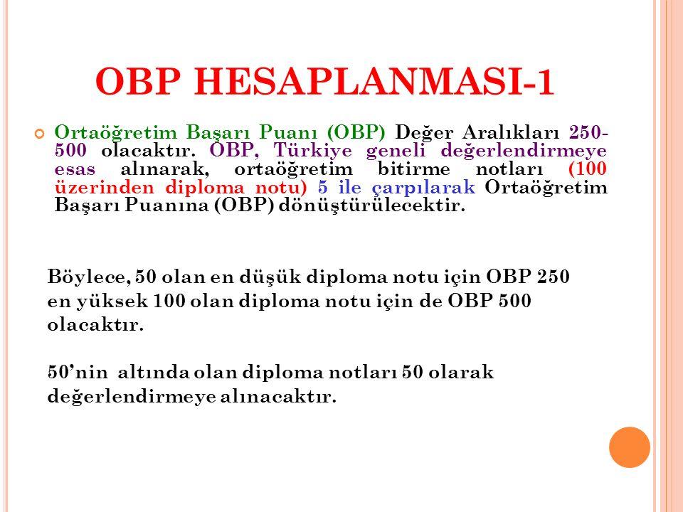 OBP HESAPLANMASI-1 Ortaöğretim Başarı Puanı (OBP) Değer Aralıkları 250- 500 olacaktır.
