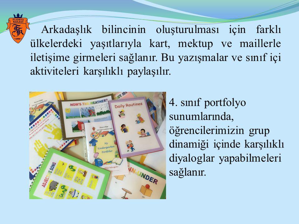 Arkadaşlık bilincinin oluşturulması için farklı ülkelerdeki yaşıtlarıyla kart, mektup ve maillerle iletişime girmeleri sağlanır. Bu yazışmalar ve sını