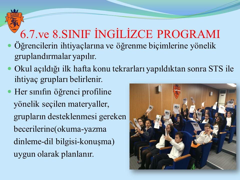 6.7.ve 8.SINIF İNGİLİZCE PROGRAMI Öğrencilerin ihtiyaçlarına ve öğrenme biçimlerine yönelik gruplandırmalar yapılır. Okul açıldığı ilk hafta konu tekr