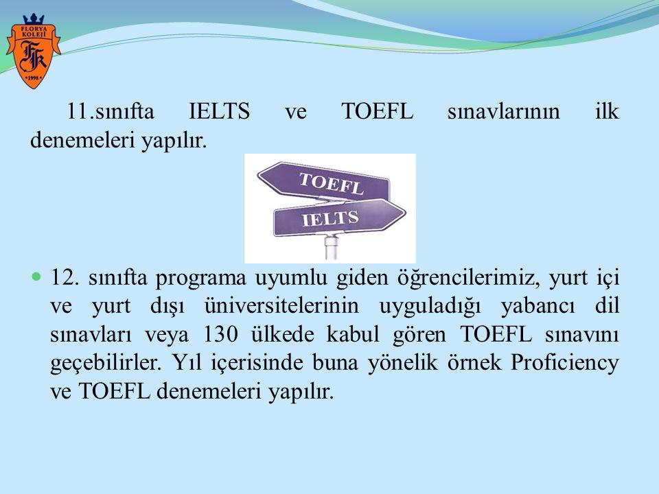 11.sınıfta IELTS ve TOEFL sınavlarının ilk denemeleri yapılır. 12. sınıfta programa uyumlu giden öğrencilerimiz, yurt içi ve yurt dışı üniversitelerin
