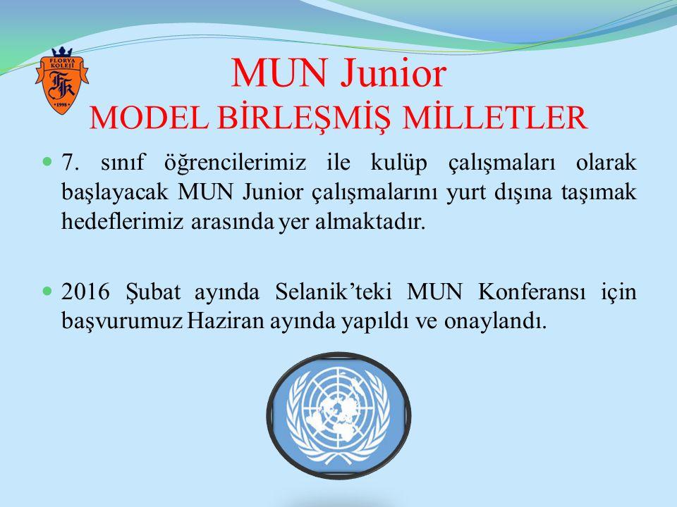 MUN Junior MODEL BİRLEŞMİŞ MİLLETLER 7. sınıf öğrencilerimiz ile kulüp çalışmaları olarak başlayacak MUN Junior çalışmalarını yurt dışına taşımak hede