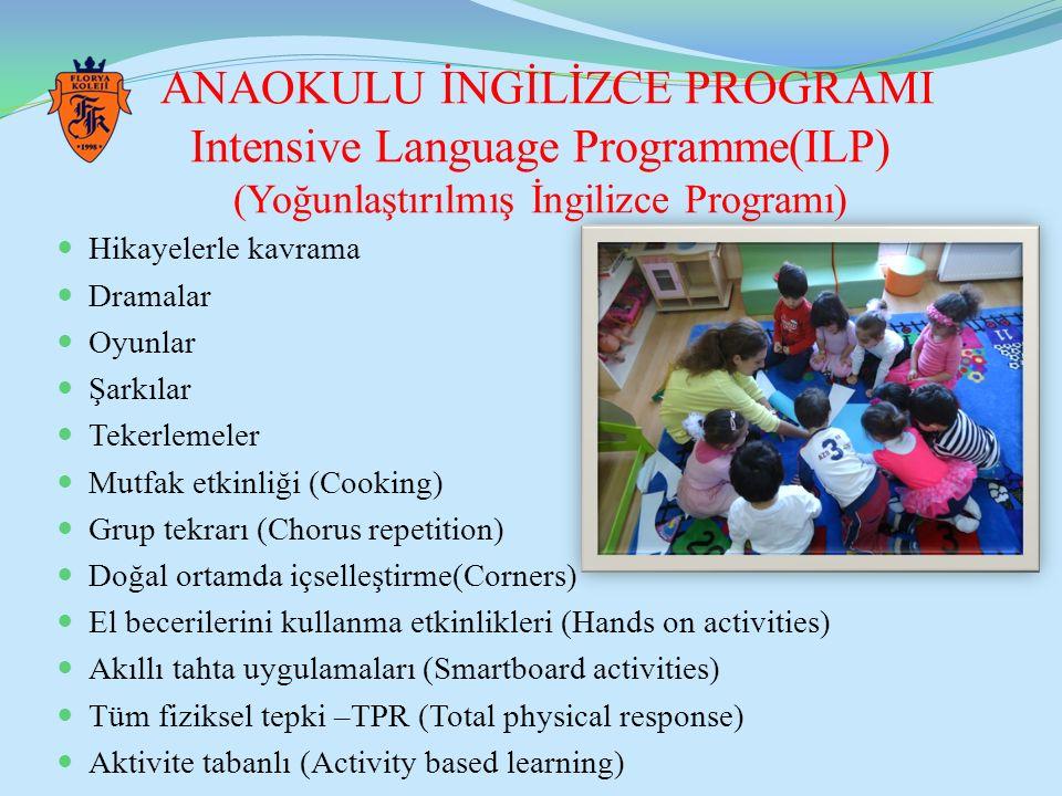 ANAOKULU İNGİLİZCE PROGRAMI Intensive Language Programme(ILP) (Yoğunlaştırılmış İngilizce Programı) Hikayelerle kavrama Dramalar Oyunlar Şarkılar Teke