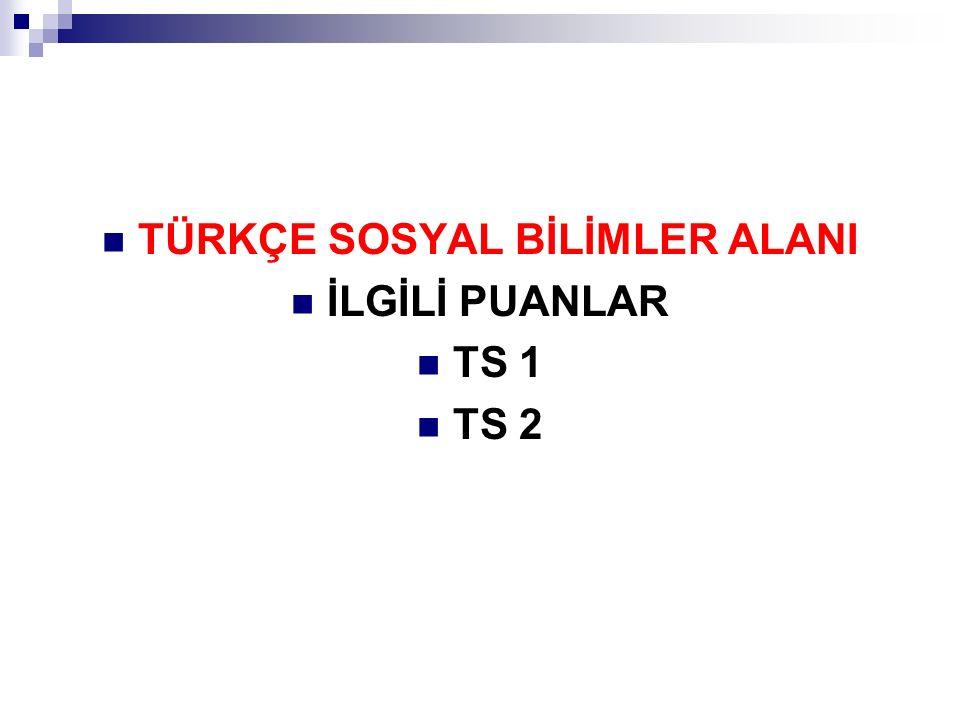 TÜRKÇE SOSYAL BİLİMLER ALANI İLGİLİ PUANLAR TS 1 TS 2