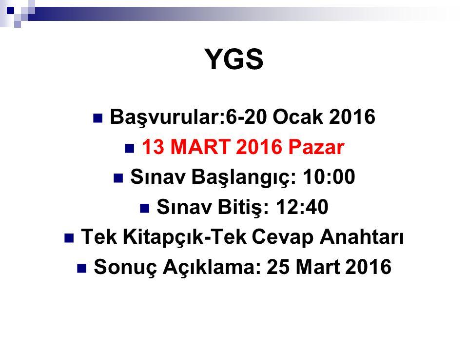 YGS Başvurular:6-20 Ocak 2016 13 MART 2016 Pazar Sınav Başlangıç: 10:00 Sınav Bitiş: 12:40 Tek Kitapçık-Tek Cevap Anahtarı Sonuç Açıklama: 25 Mart 2016