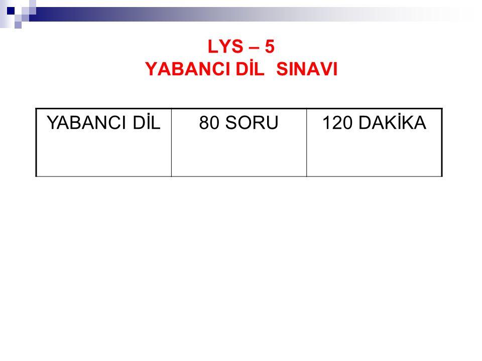 LYS – 5 YABANCI DİL SINAVI YABANCI DİL80 SORU120 DAKİKA