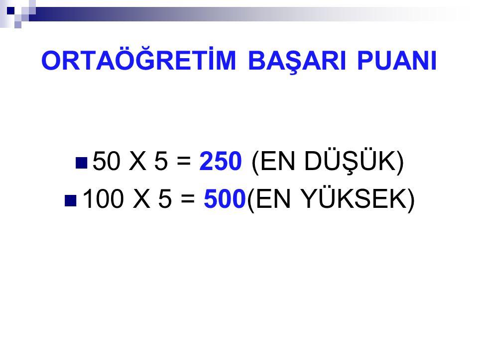 ORTAÖĞRETİM BAŞARI PUANI 50 X 5 = 250 (EN DÜŞÜK) 100 X 5 = 500(EN YÜKSEK)
