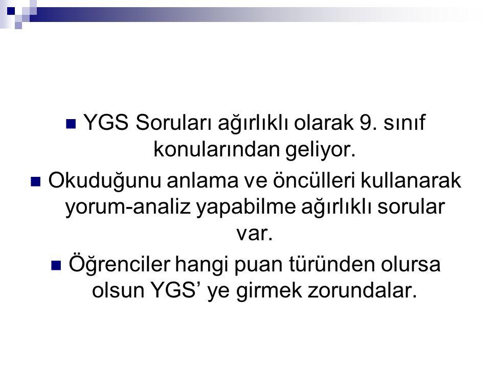 YGS Soruları ağırlıklı olarak 9.sınıf konularından geliyor.