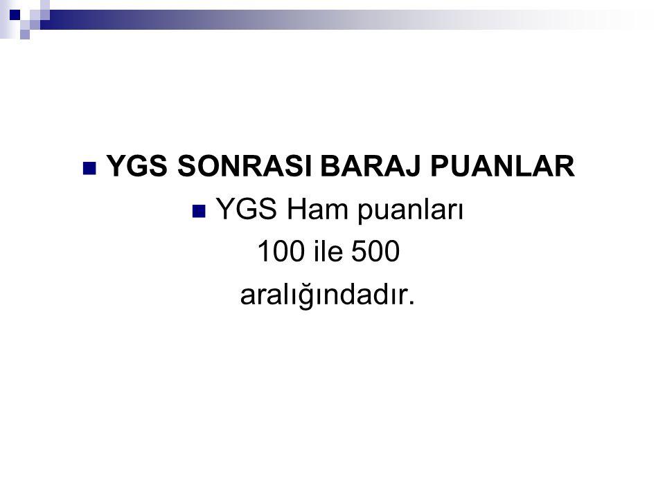 Ön lisans programları (2 yıllık) ile Açık öğretim programlarını (2 veya 4 yıllık) tercih etme barajı : 140 İkinci aşama sınavlarına (LYS) girebilme barajı: 180 YGS puanlarıyla öğrenci alan lisans programlarını (yüksekokullar) tercih etme barajı : 180 Özel Yetenek sınavlarına başvuru barajı: 140