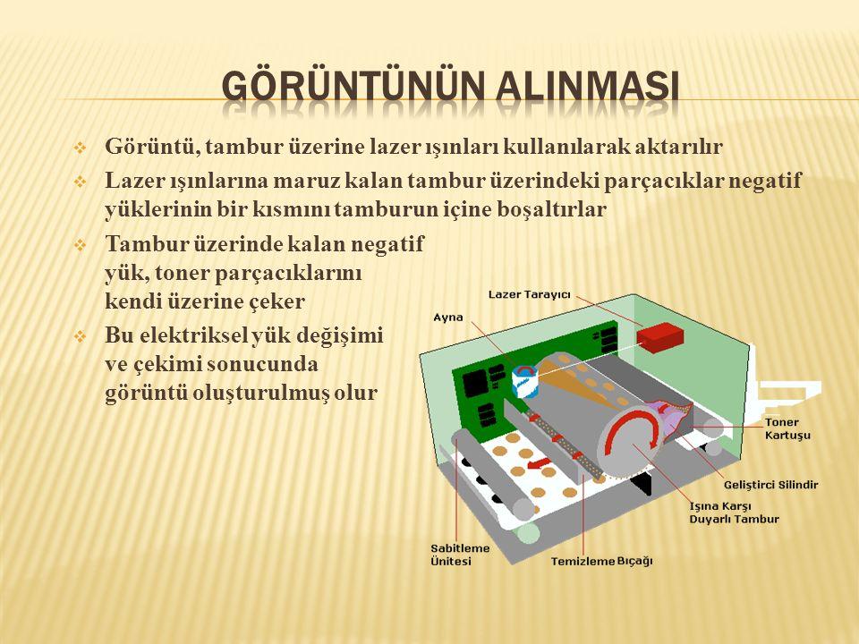  Görüntü, tambur üzerine lazer ışınları kullanılarak aktarılır  Lazer ışınlarına maruz kalan tambur üzerindeki parçacıklar negatif yüklerinin bir kı