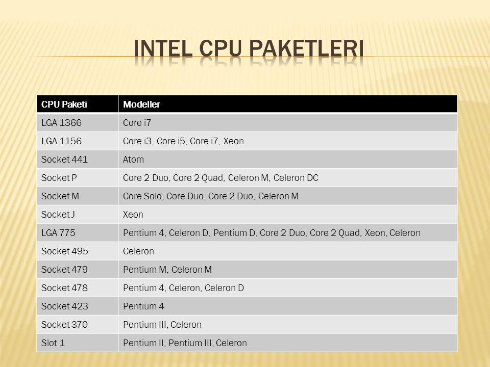 CPU PaketiModeller LGA 1366Core i7 LGA 1156Core i3, Core i5, Core i7, Xeon Socket 441Atom Socket PCore 2 Duo, Core 2 Quad, Celeron M, Celeron DC Socke