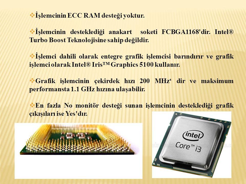  İşlemcinin ECC RAM desteği yoktur.  İşlemcinin desteklediği anakart soketi FCBGA1168'dir. Intel® Turbo Boost Teknolojisine sahip değildir.  İşlemc