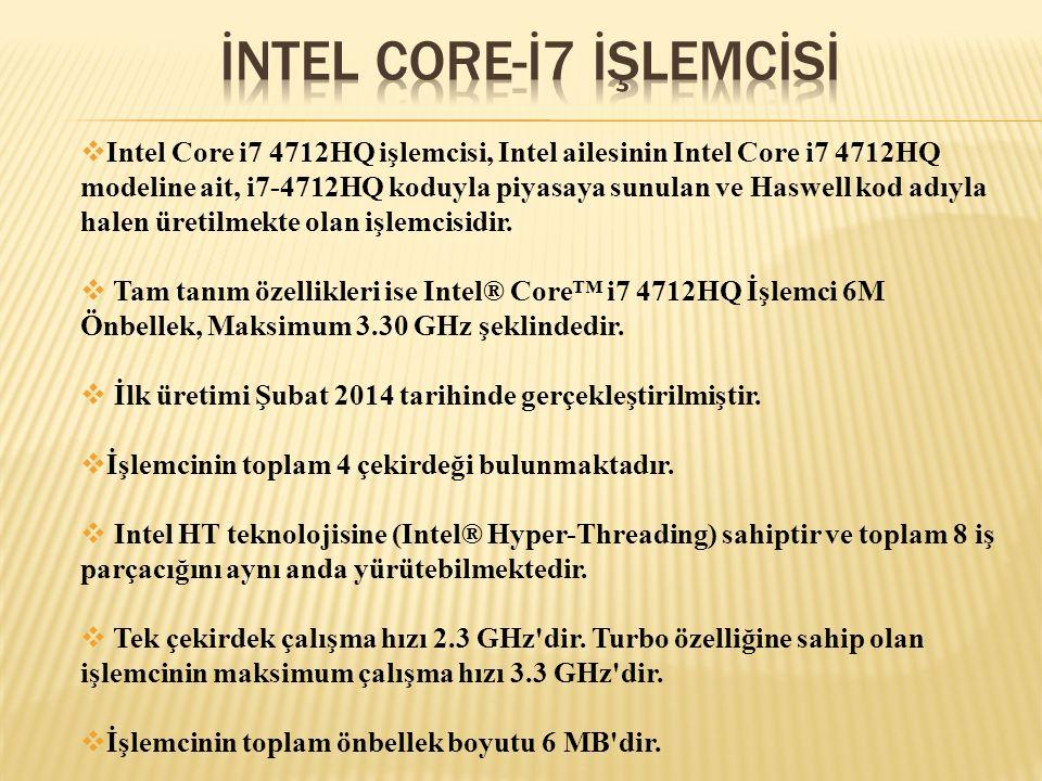  Intel Core i7 4712HQ işlemcisi, Intel ailesinin Intel Core i7 4712HQ modeline ait, i7-4712HQ koduyla piyasaya sunulan ve Haswell kod adıyla halen ür