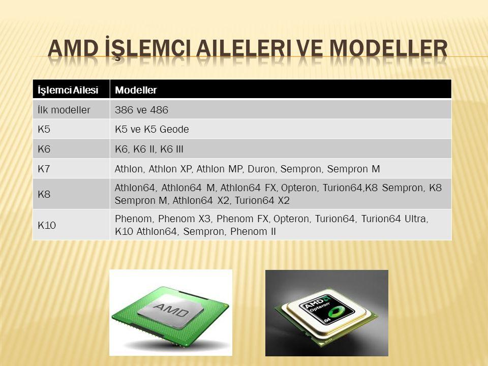İşlemci AilesiModeller İlk modeller386 ve 486 K5K5 ve K5 Geode K6K6, K6 II, K6 III K7Athlon, Athlon XP, Athlon MP, Duron, Sempron, Sempron M K8 Athlon