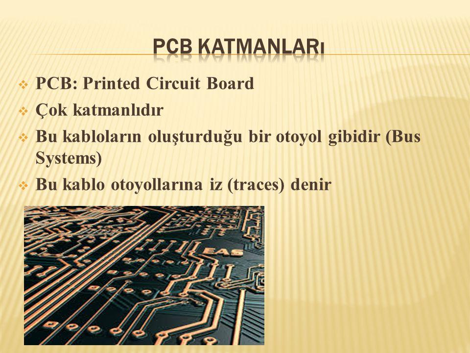  PCB: Printed Circuit Board  Çok katmanlıdır  Bu kabloların oluşturduğu bir otoyol gibidir (Bus Systems)  Bu kablo otoyollarına iz (traces) denir