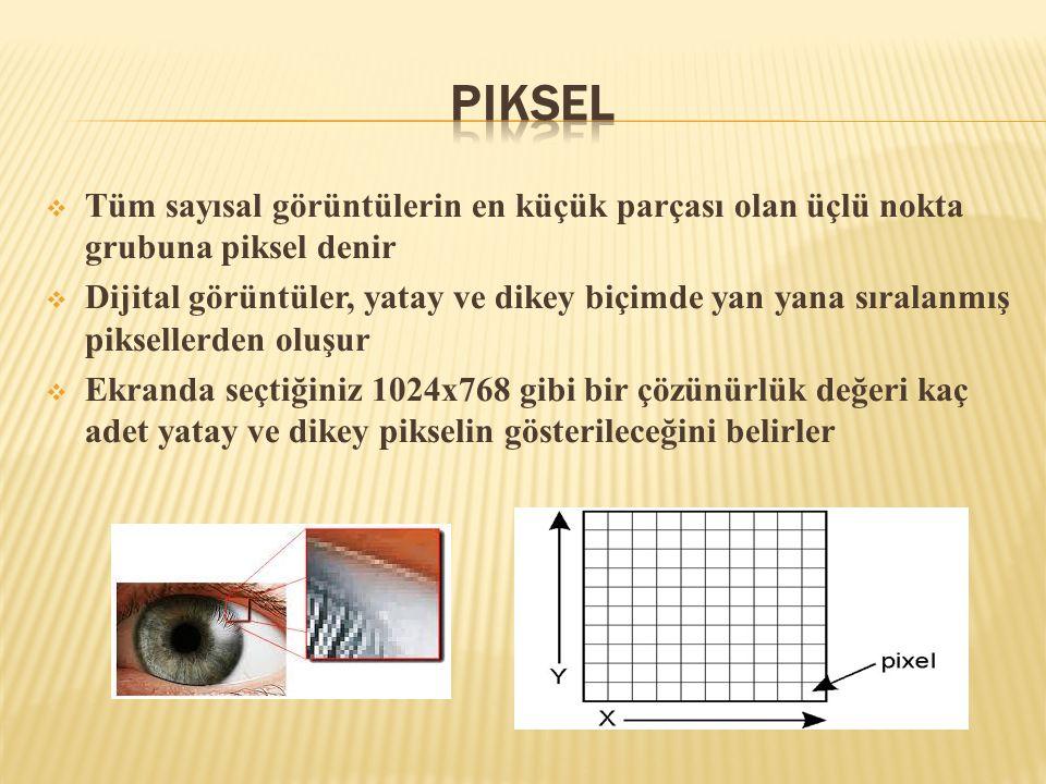  Tüm sayısal görüntülerin en küçük parçası olan üçlü nokta grubuna piksel denir  Dijital görüntüler, yatay ve dikey biçimde yan yana sıralanmış piks