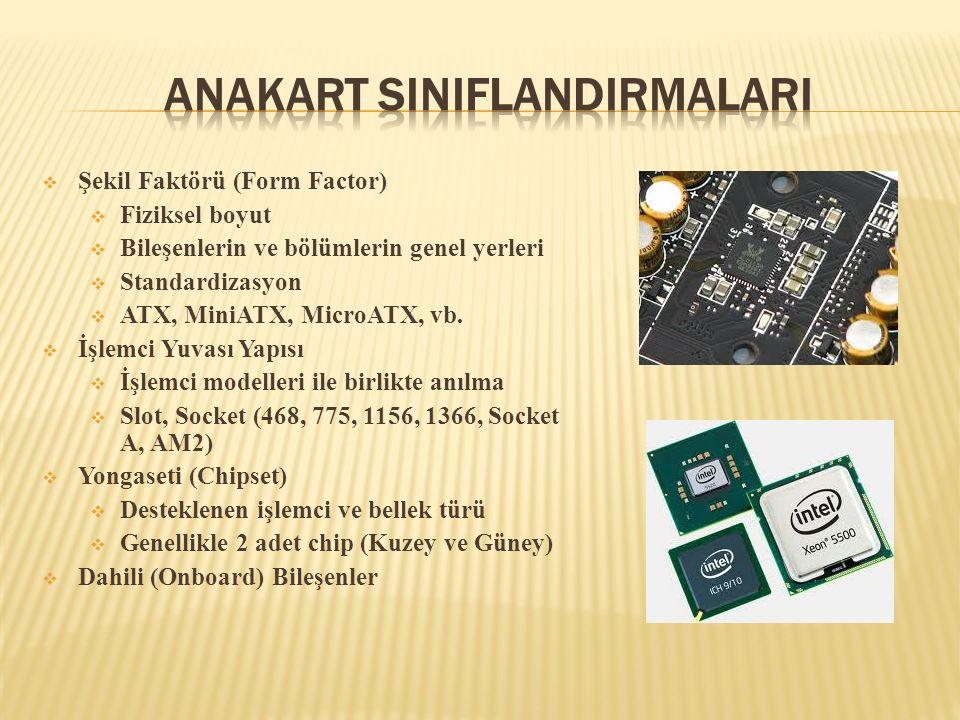  AT  IBM tarafından geliştirildi  Yaklaşık olarak 1980 - 1995 aralığından kullanıldı  Harici bağlantılarda yetersizdi  LPX ve NLX  AT'nin geliştirilmiş versiyonlarıdır  Genişleme yuvaları kullanımını mümkün kıldılar  Yeterince esnek değildiler  Güncel şekil faktörleri  ATX  BTX ŞekilBoyut AT13.7 x 12 350 x 305 mm NLX9.0 x 13.6 229 x 346 mm ATX12 x 9.6 305 x 244 mm Micro ATX9.6 x 9.6 244 x 244 mm Flex ATX9.0 x 7.5 229 x 191 mm BTX12.8 x 10.5 325 x 267 mm Micro BTX10.5 x 10.5 264 x 267 mm Pico BTX8 x 10.5 203 x 267 mm