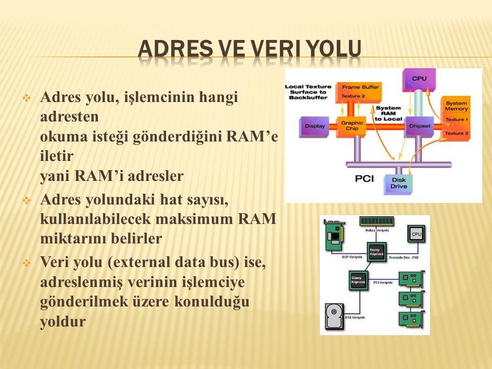  Adres yolu, işlemcinin hangi adresten okuma isteği gönderdiğini RAM'e iletir yani RAM'i adresler  Adres yolundaki hat sayısı, kullanılabilecek maks