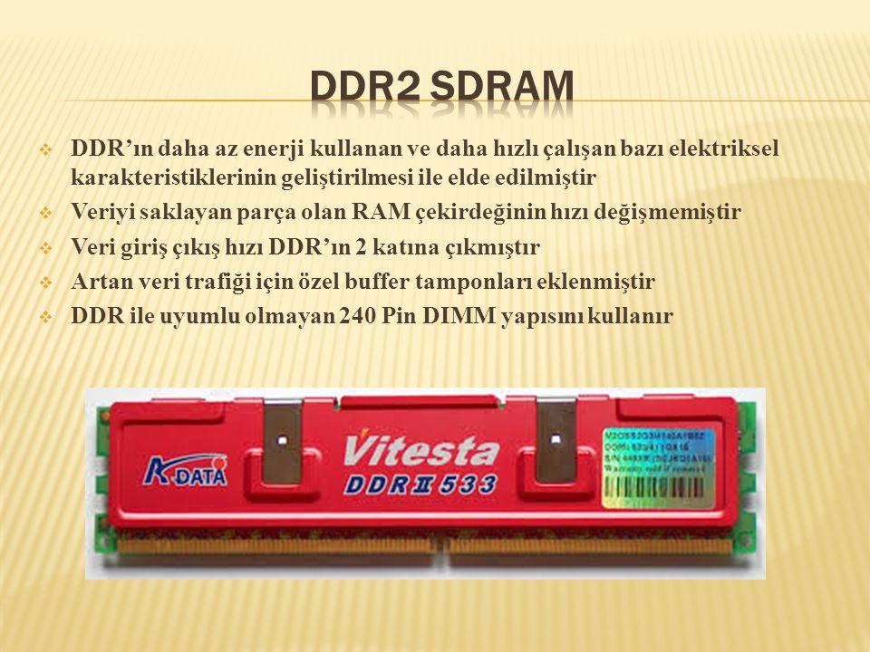  DDR'ın daha az enerji kullanan ve daha hızlı çalışan bazı elektriksel karakteristiklerinin geliştirilmesi ile elde edilmiştir  Veriyi saklayan parç