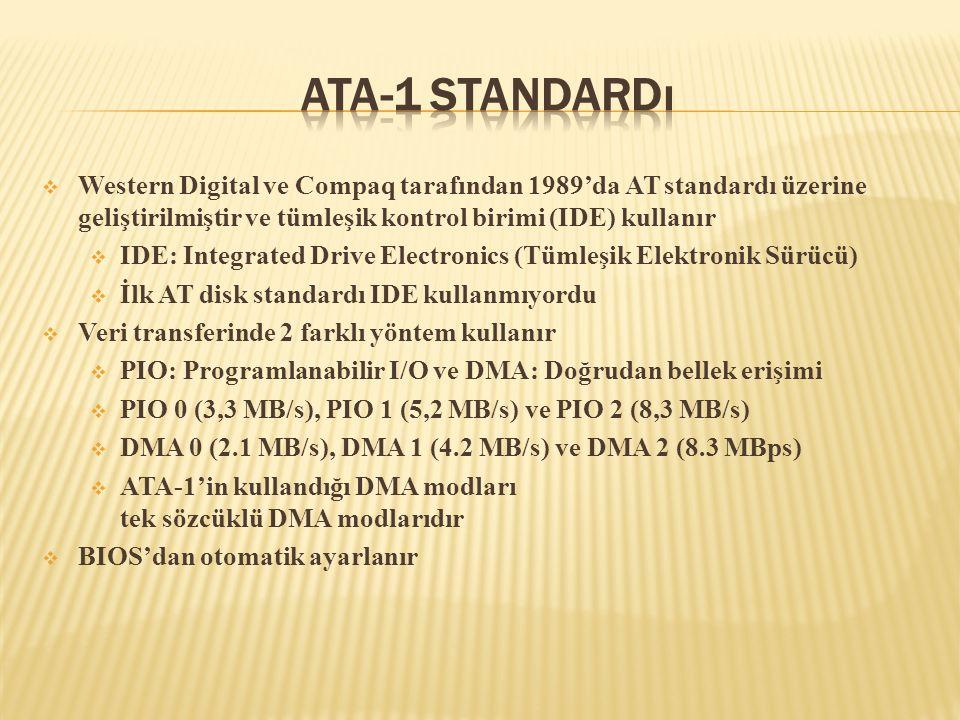  Western Digital ve Compaq tarafından 1989'da AT standardı üzerine geliştirilmiştir ve tümleşik kontrol birimi (IDE) kullanır  IDE: Integrated Drive